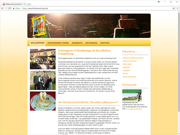 kirchenwirt-puch.at - web site screenshot